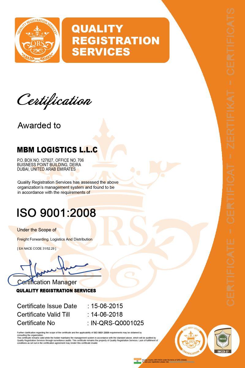 Mbm Logistics Llc Member In Uae Is Now Certified Iso 90012008
